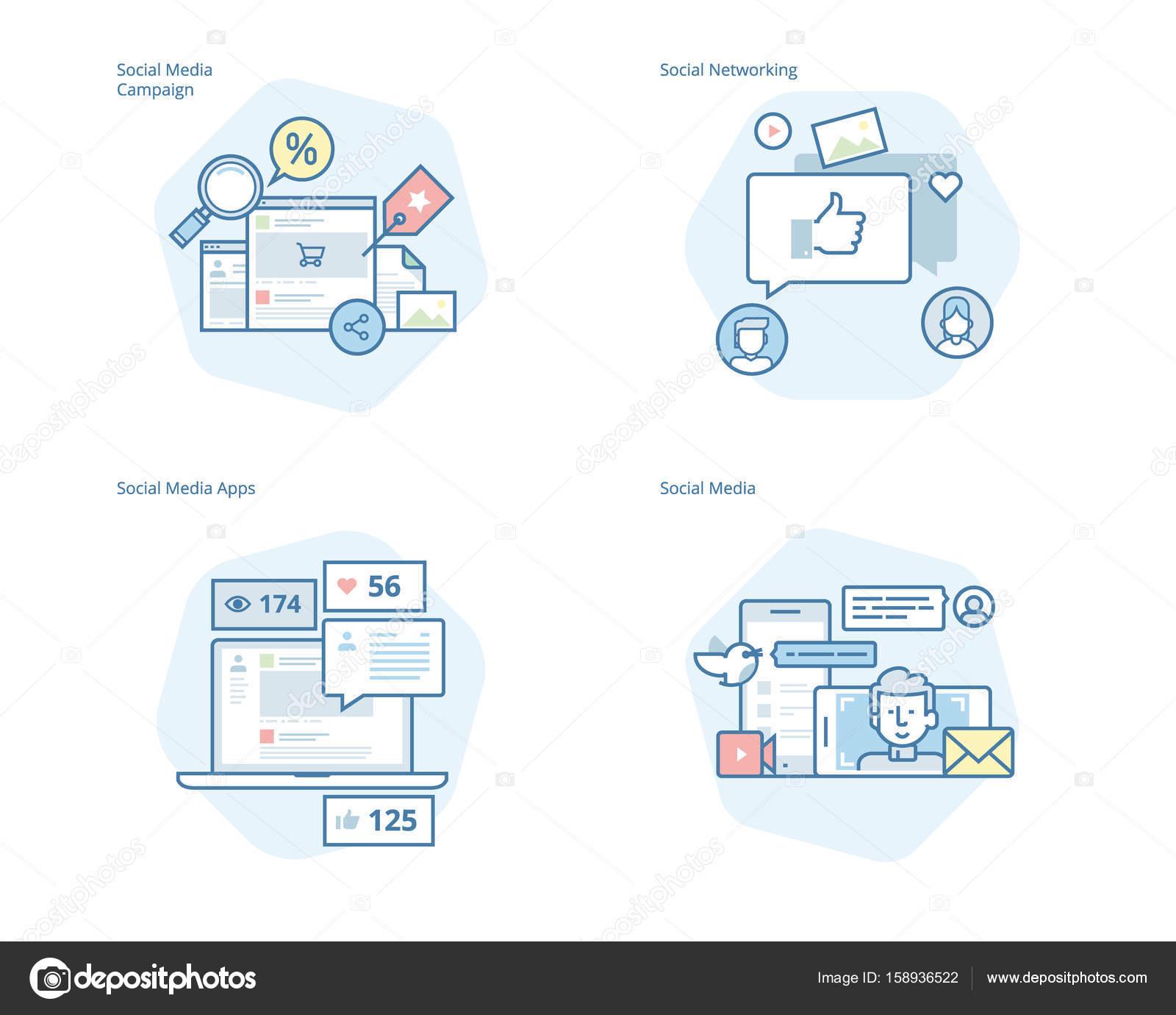 Conjunto de cones de linha conceito para mdias sociais networking conjunto de cones de linha conceito para mdias sociais networking marketing campanha e ccuart Image collections
