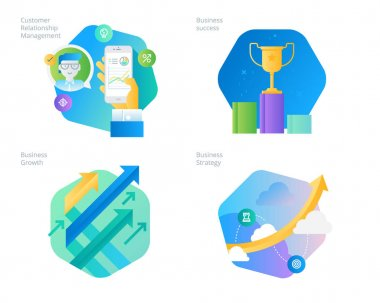 Material design icons set for CRM, business strategy, growth and success