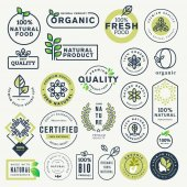 Photo Set of labels and stickers for organic food and drink, and natural products