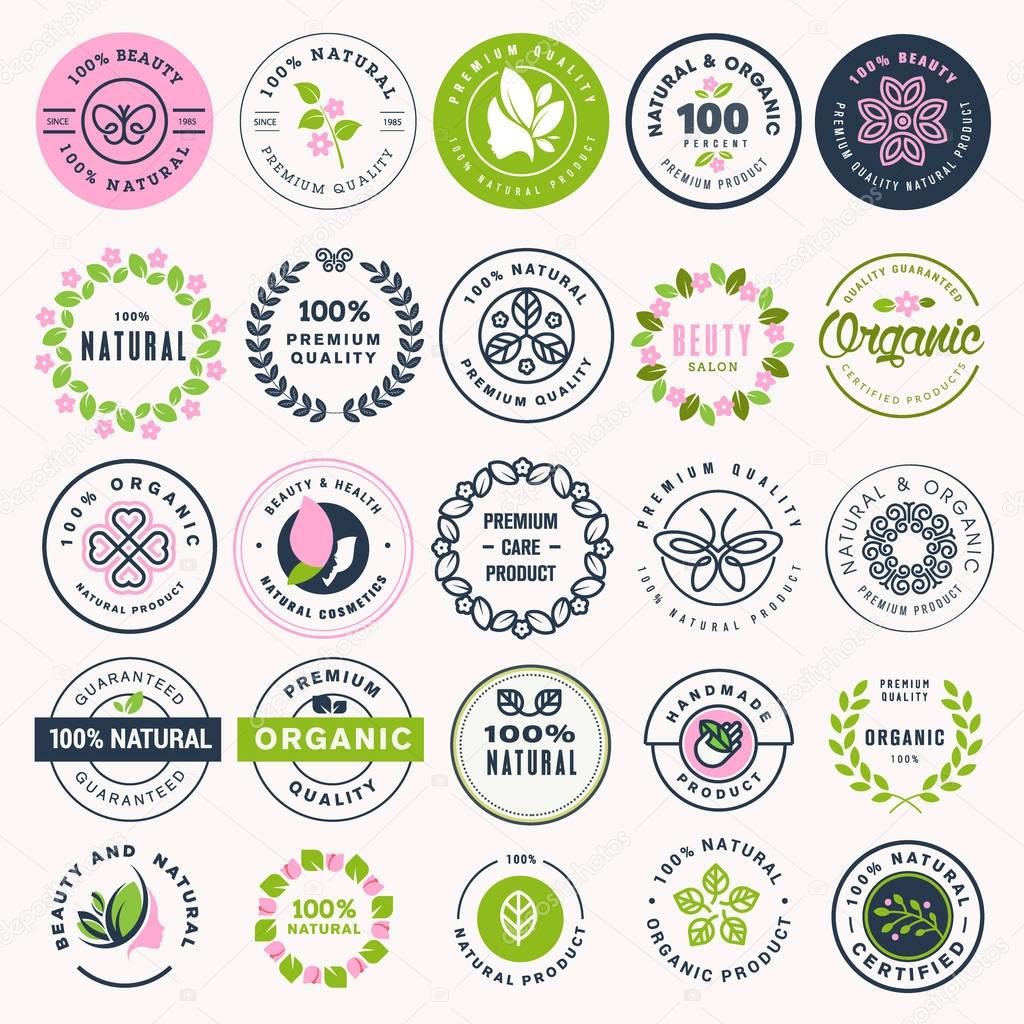 Set of beauty, natural cosmetics and healthcare stickers and badges