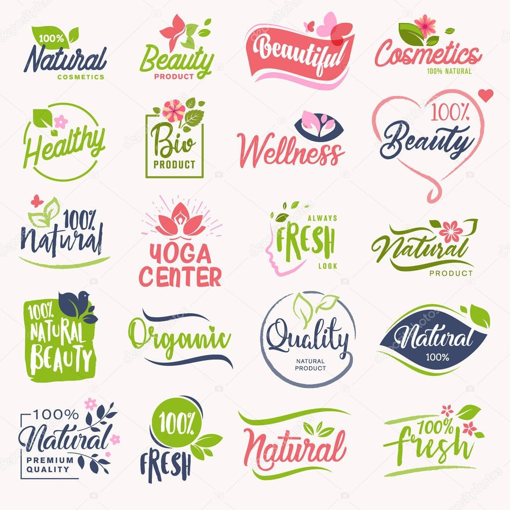 Set of beauty and cosmetics, spa and wellness labels and badges. Vector illustration concepts for web design, packaging design, promotional material.