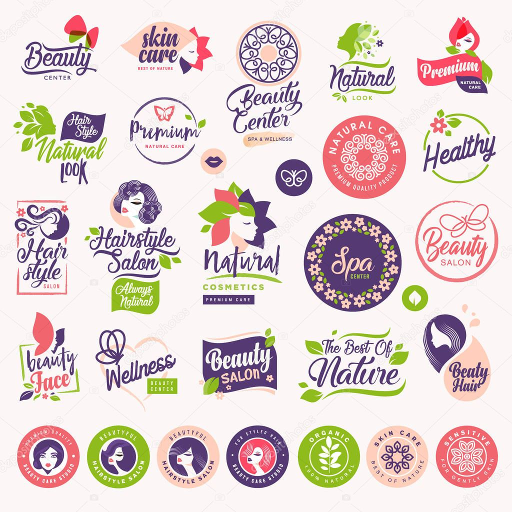 Set of beauty, natural cosmetics and healthcare labels and elements