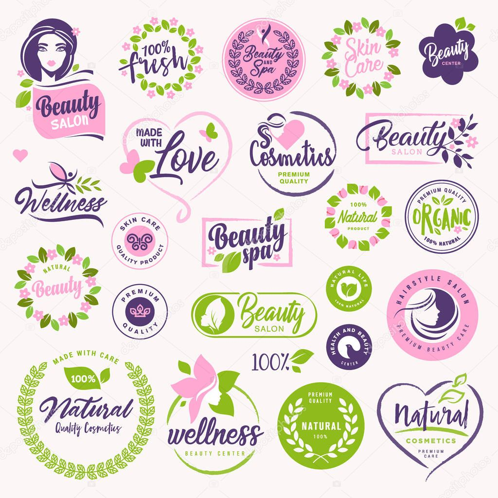 Set of beauty, natural cosmetics and healthcare signs and elements