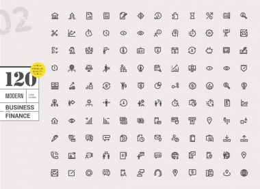 Modern business line icons set
