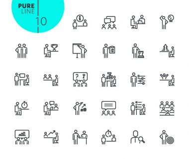 Set of strategy, planning and teamwork icons