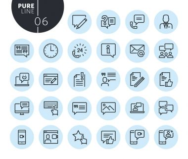 Collection of premium quality social media and networking line icons. Outline concepts for web and app design and development. Modern vector illustration of thin line web symbols.