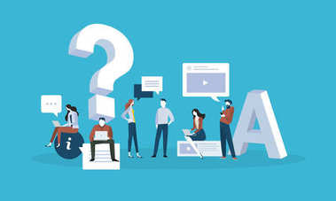 FAQ. Flat design business people concept for answers and questions.