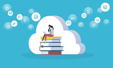 Flat design style web banner for education cloud, distance education and training, digital library