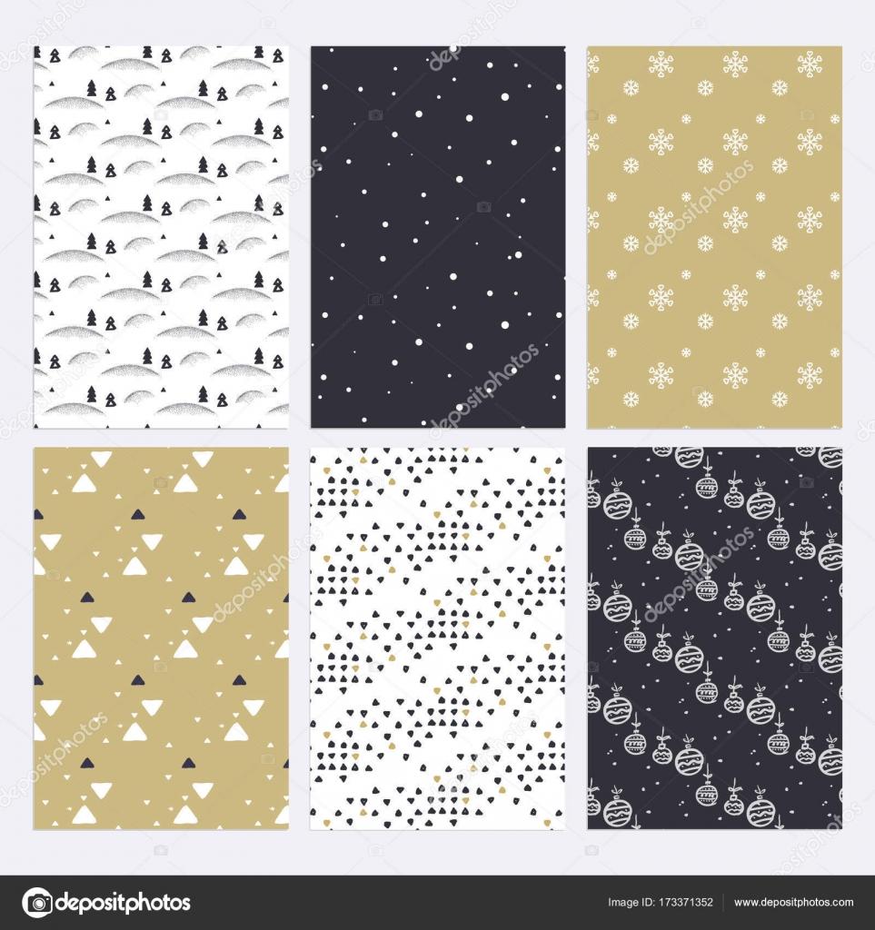 Conjunto de diseño plano patrones transparente de Navidad y año ...