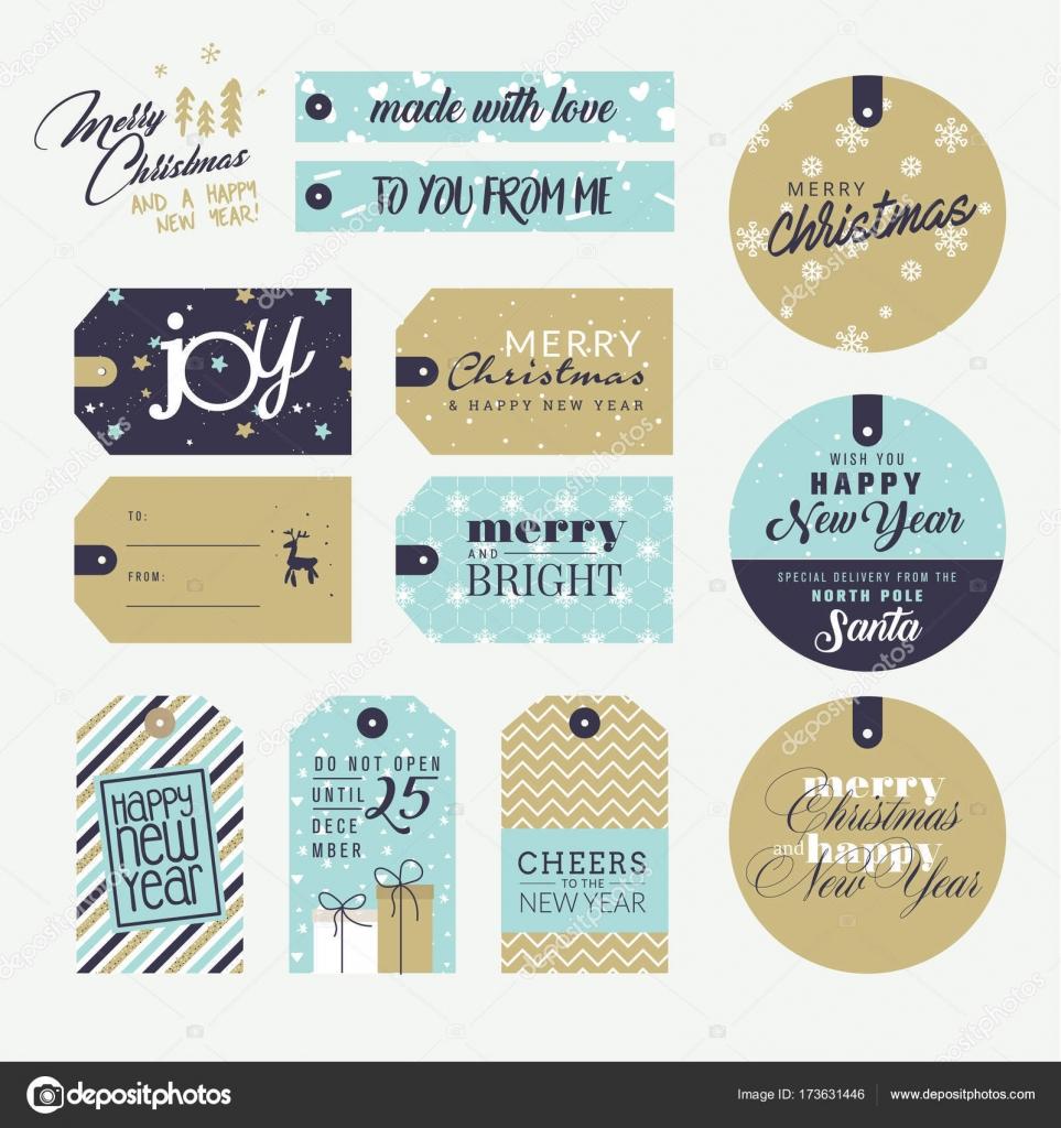 Conjunto de etiquetas de regalo de Navidad y año nuevo — Vector de ...