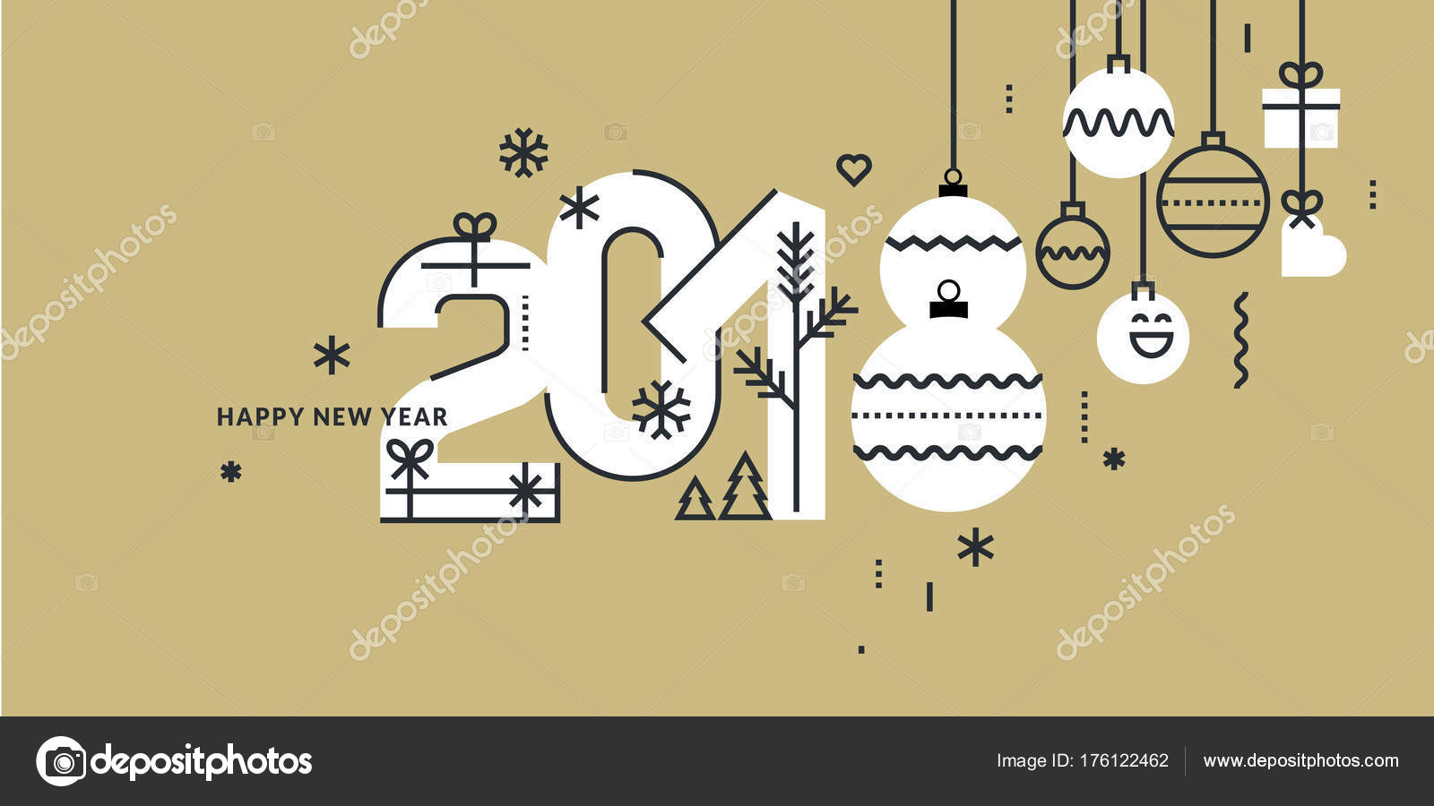 New year 2018 greeting card flat line style vector illustration new year 2018 greeting card flat line style vector illustration for greeting cards website and mobile banners marketing material vector by variant m4hsunfo