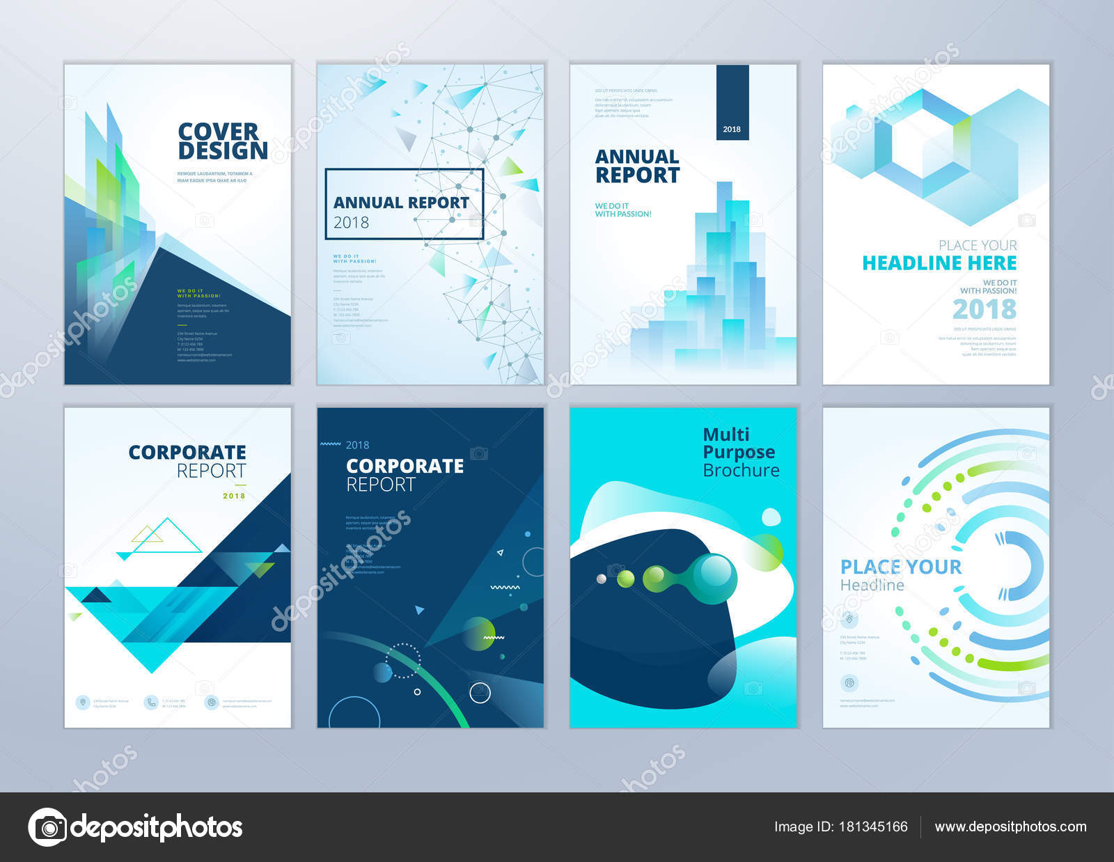 Set Brochure Annual Report Flyer Design Templates Size Vector ...