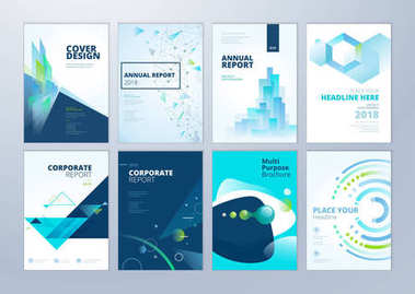 Set of brochure, annual report, flyer design templates in A4 size. Vector illustrations for business presentation, business paper, corporate document cover and layout template designs.