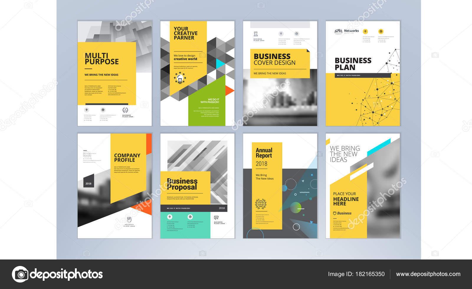 Conjunto Negocios Folleto Informe Anual Plantillas Diseño Folleto ...