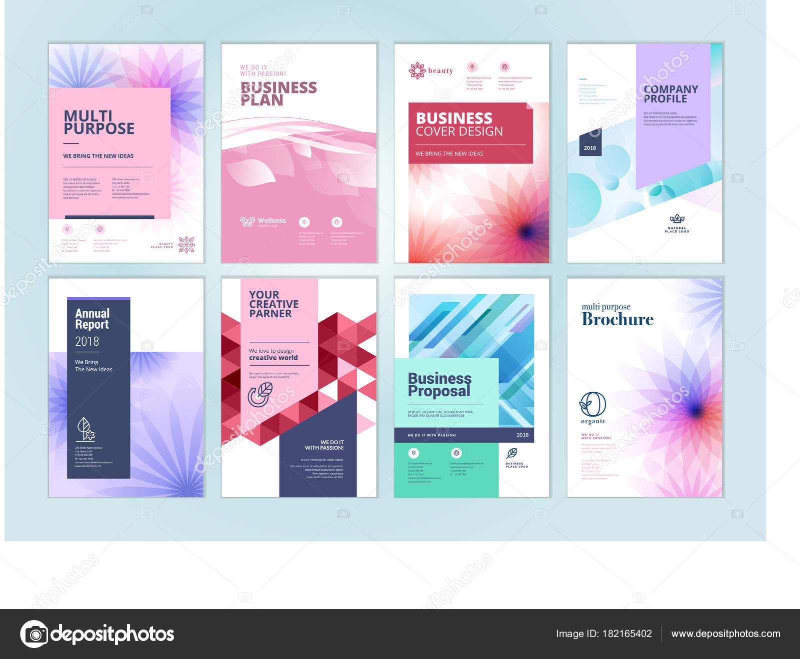 set beauty brochure annual report flyer design templates size vector