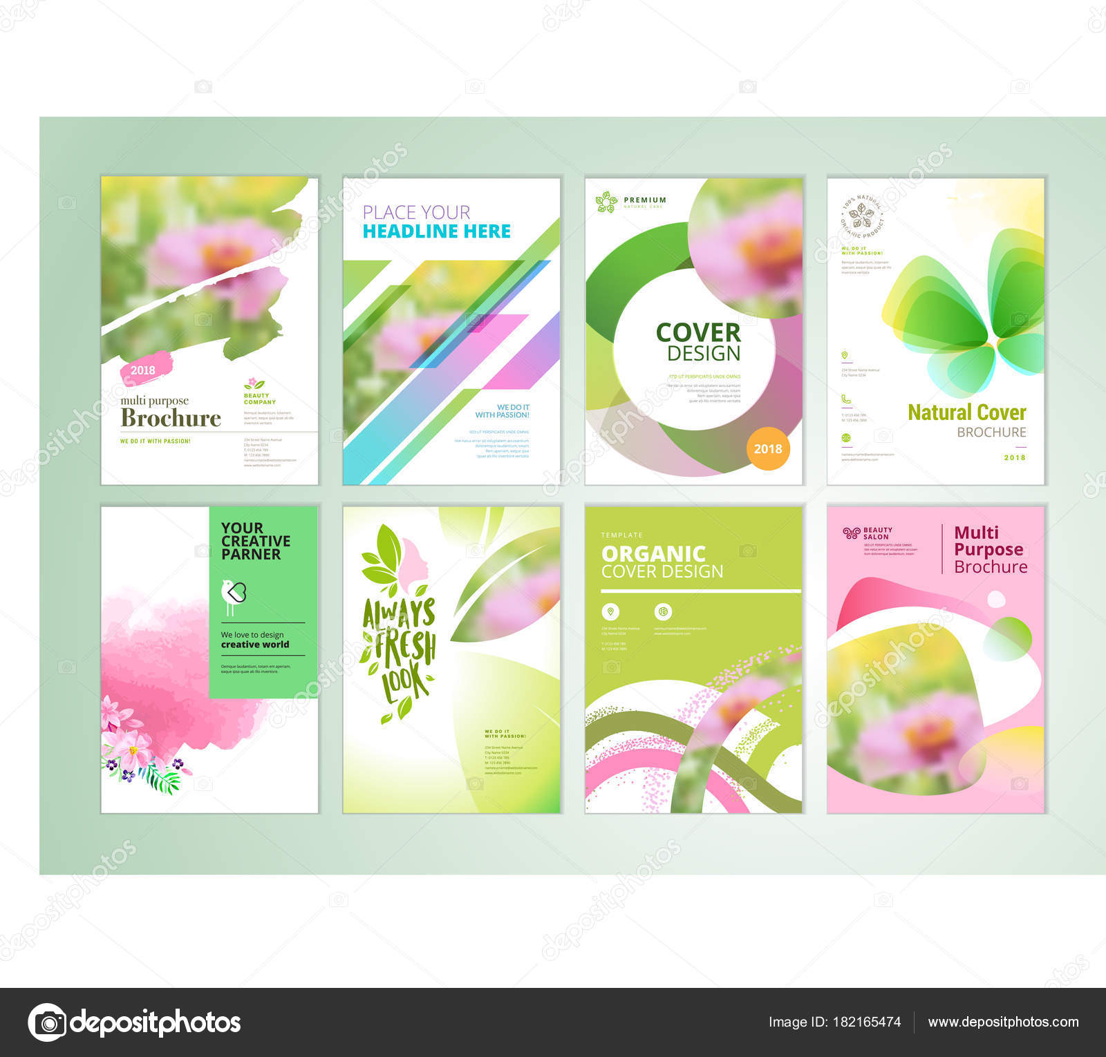 Set Natural Product Brochure Annual Report Flyer Design Templates ...