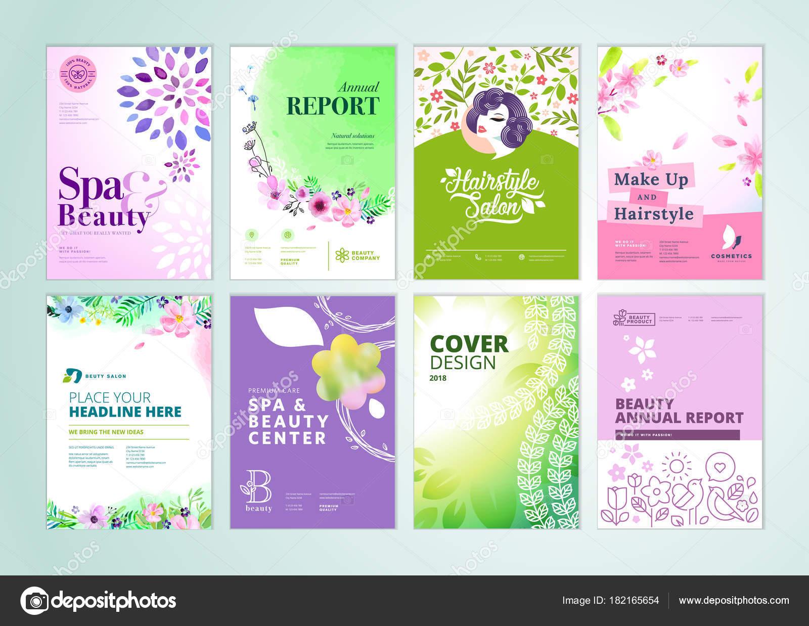 Set Belleza Folleto Informe Anual Plantillas Diseño Folleto Tamaño ...