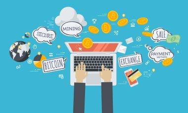 Cryptocurrency ticaret platformu. Düz tasarım stili web afiş blockchain teknoloji, bitcoin, altcoins, cryptocurrency madencilik, finans, dijital para piyasası, cryptocoin m-cüzdan, kripto Satım.