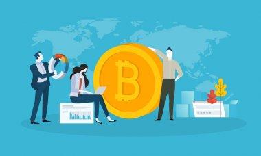 Bitcoin ticaret. Düz tasarım stili web afiş blockchain teknoloji, bitcoin, altcoins, cryptocurrency madencilik, finans, dijital para piyasası, cryptocoin m-cüzdan, kripto Satım.