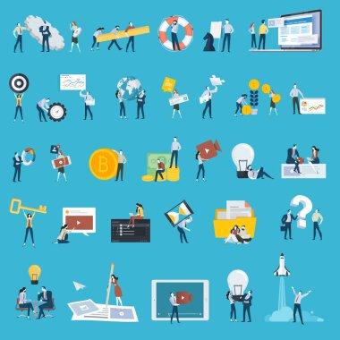 Düz tasarım stili insanlar simgeler kümesi. Web tasarım ve geliştirme, uygulama geliştirme, Seo, başlangıç, iş planı, kodlama, içerik yöneticisi, video pazarlama, finans, proje yönetimi, strateji ve analytics, brainstor için vektör illüstrasyon kavramlar