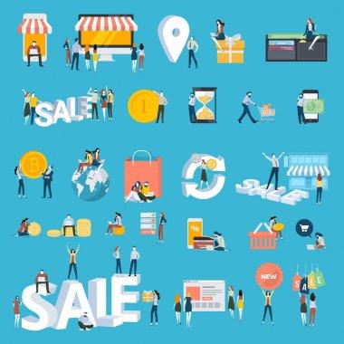 Düz tasarım stili insanlar simgeler kümesi. Vektör illüstrasyon kavramlar online alışveriş, e-ticaret, satış, online ödeme, bitcoin, alışveriş, mobil ve web app, m-ticaret, e-bankacılık, sosyal medya için.