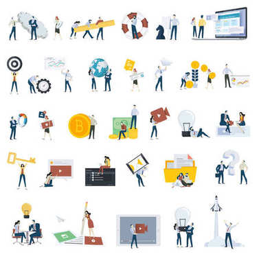 Flat design people concept icons isolated on white. Set of vector illustrations for web and app design and development, seo, social media.