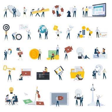 Beyaz izole düz tasarım insanlar kavramı kutsal kişilerin resmi. Vektör çizimler için web ve uygulama tasarım ve geliştirme, seo, sosyal medya kümesi.