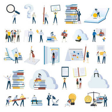 Flat design people concept icons isolated on white.  Set of vector illustrations for education, e-learning, online training and course, education app and cloud, investments in education, science, ebook.