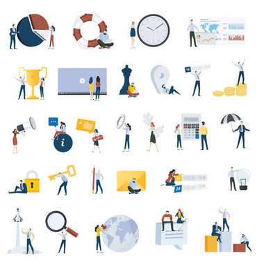 Flat design people concept icons isolated on white.  Set of vector illustrations for business, strategy, analysis, planning, time management, marketing, startup, business communication, finance, security.