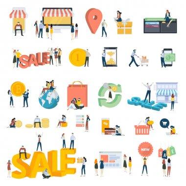 Beyaz izole düz tasarım insanlar kavramı kutsal kişilerin resmi. Alışveriş, e-ticaret, online ödeme için vektör çizimler kümesi.