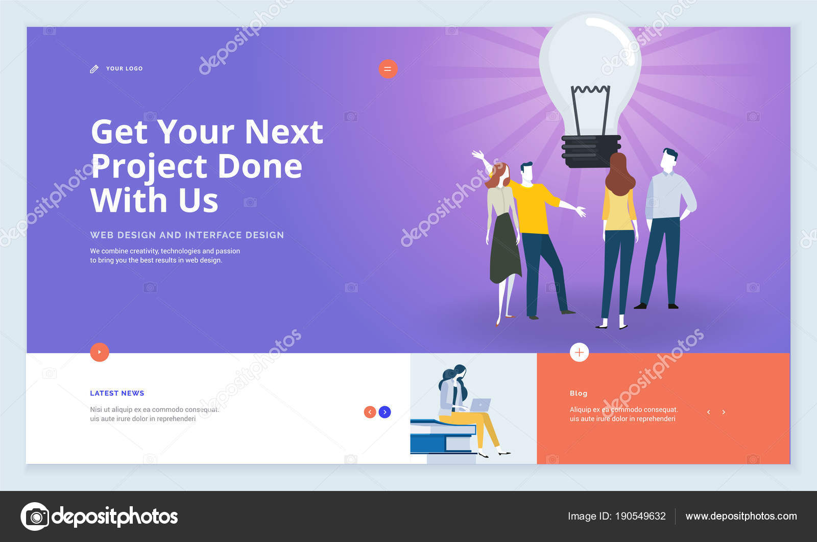 Effective Website Template Design Modern Flat Design Vector ...