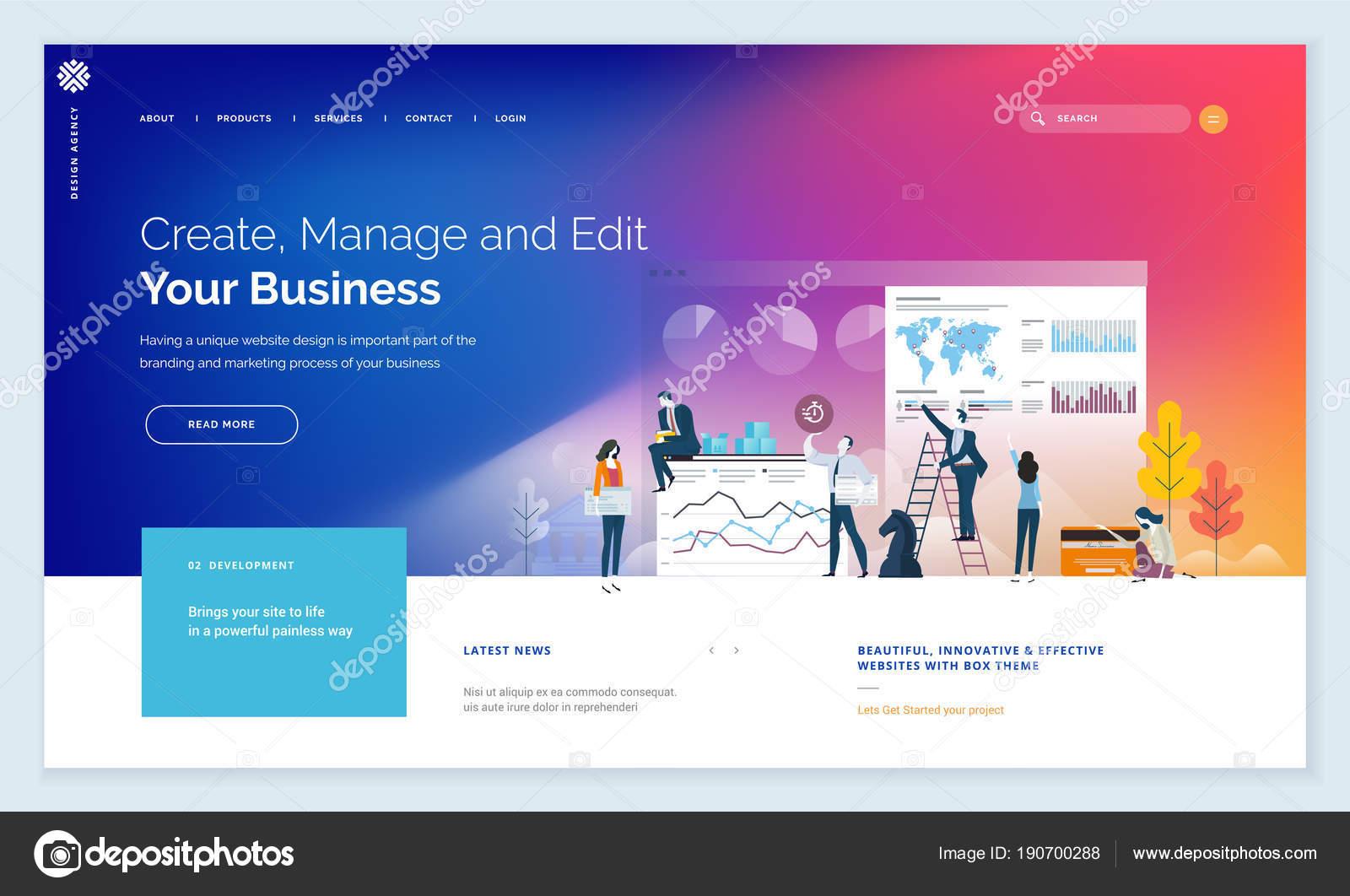 effective website template design modern flat design vector