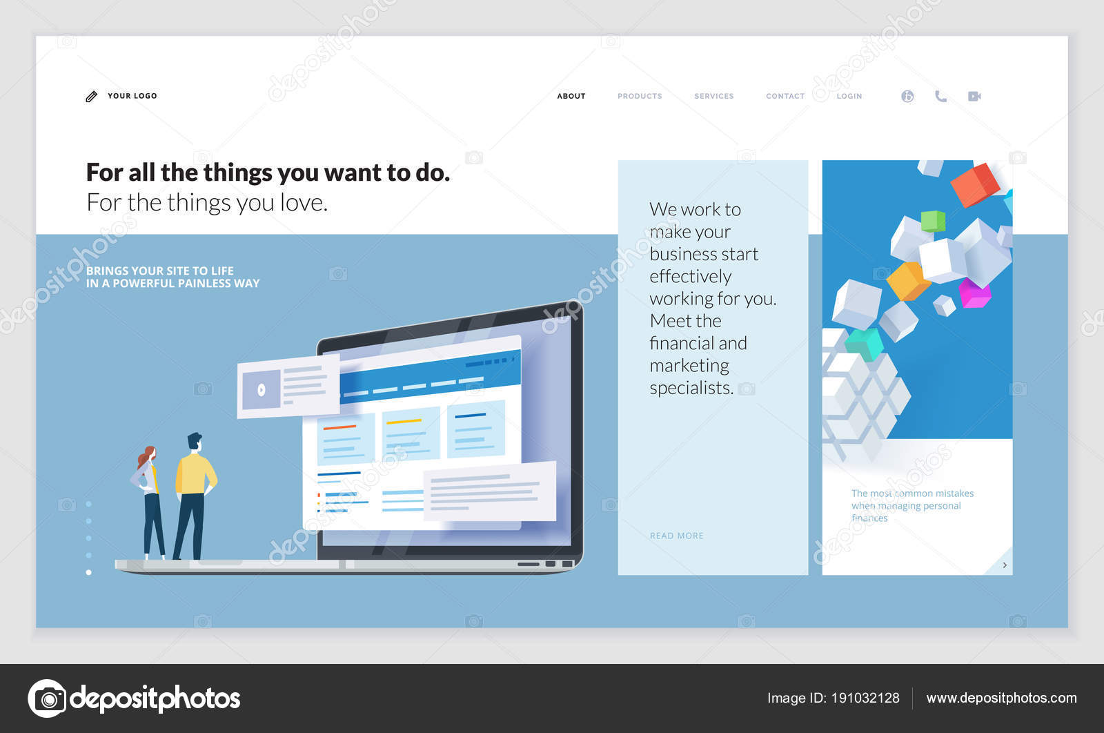 Creative Website Template Design Vector Illustration Concept Web ...