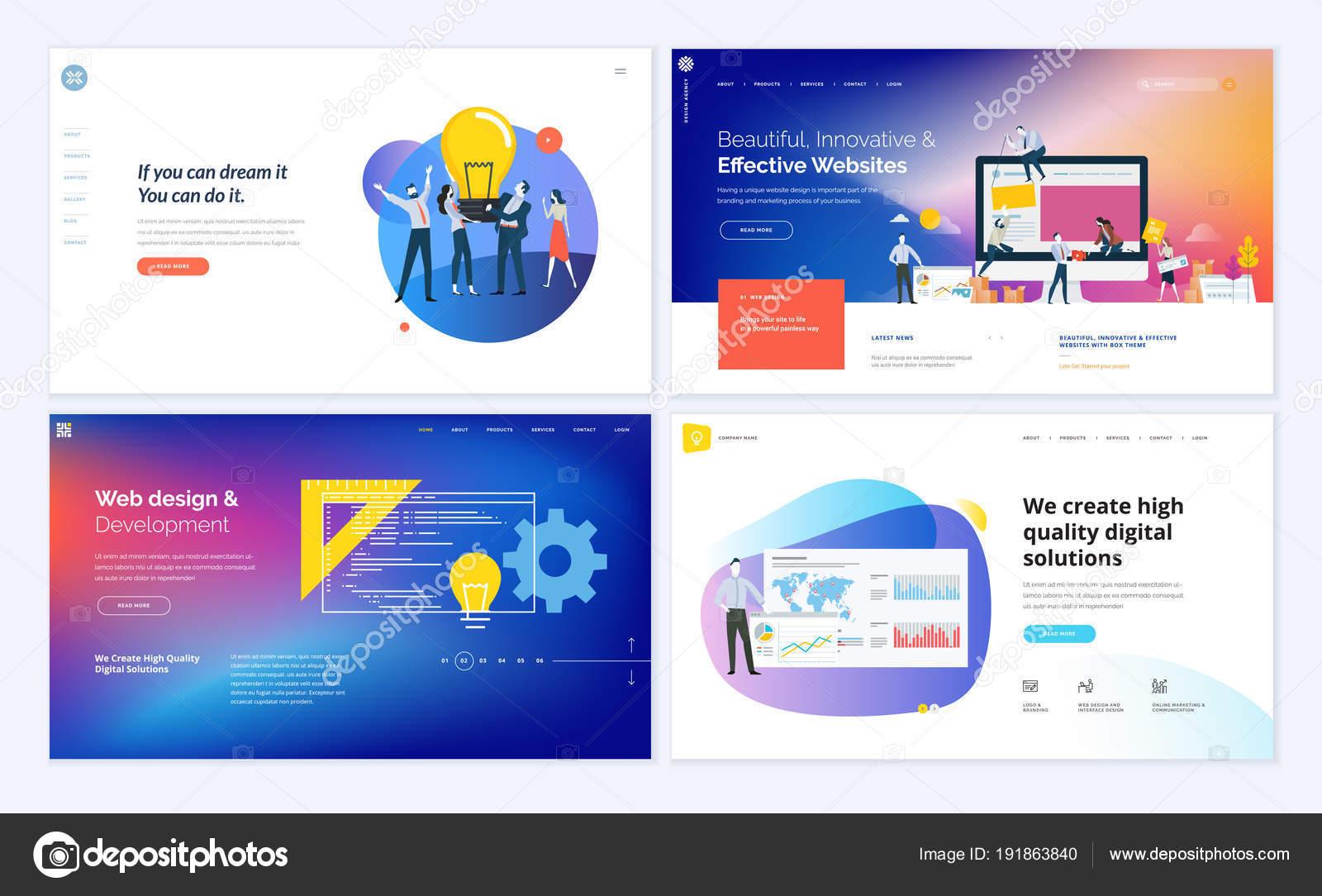 Set Creative Website Template Designs Vector Illustration Concepts ...