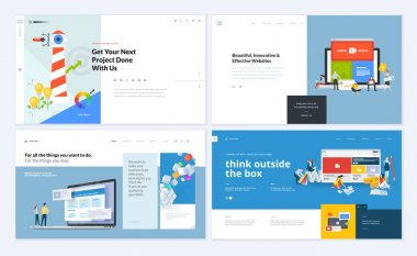 Set of creative website template designs. Vector illustration concepts for website and mobile website design and development, SEO, business apps, marketing, graphic design, social media apps, time and project management. Easy to edit and customize.