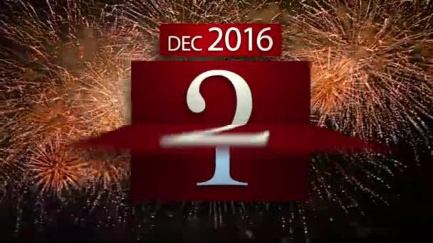 Odpočítávání kalendář na nový rok 2017 s ohňostrojem