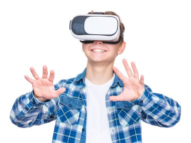 Teen boy in VR glasses