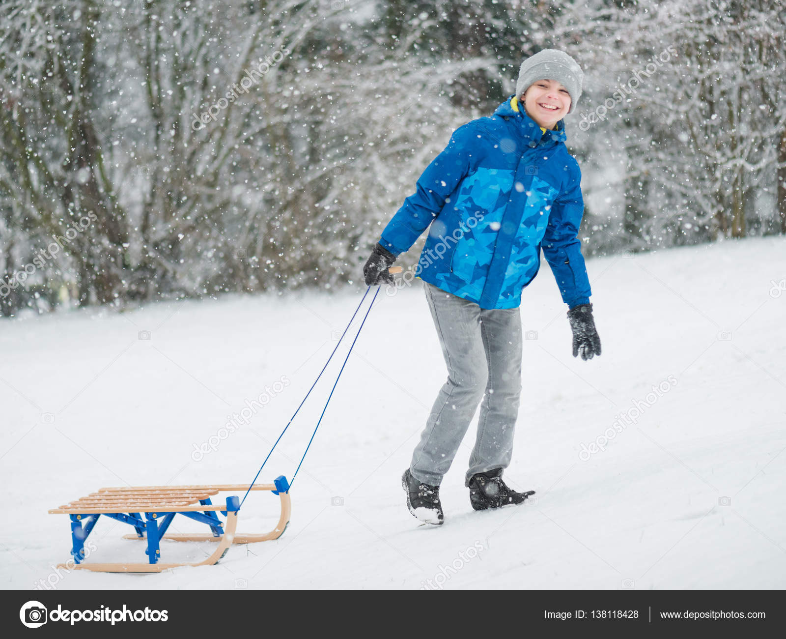 depositphotos_138118428 stock photo child play in snow withjpg - Christmas Vacation Sled