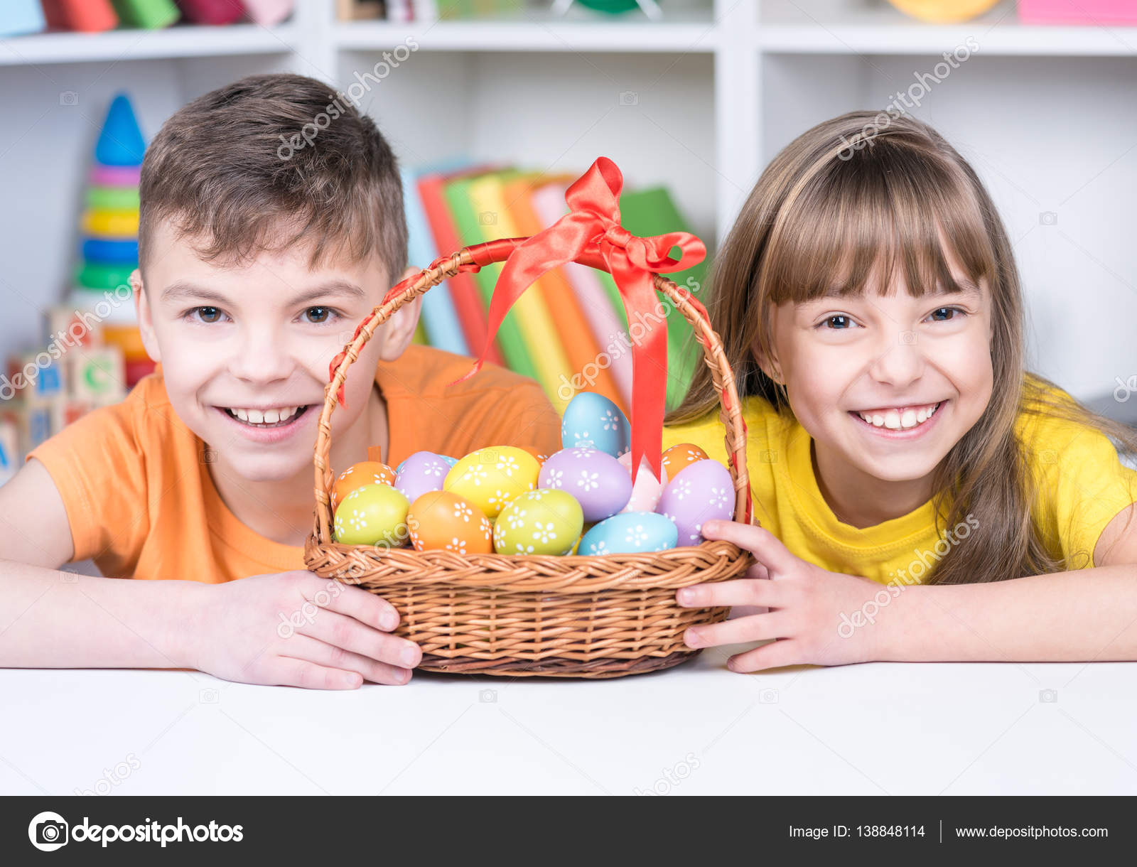 easter holiday cute cheerful children holding basket of decorated eggs at home little girl and boy having fun and celebrating feast photo by valiza - Little Kid Coloring