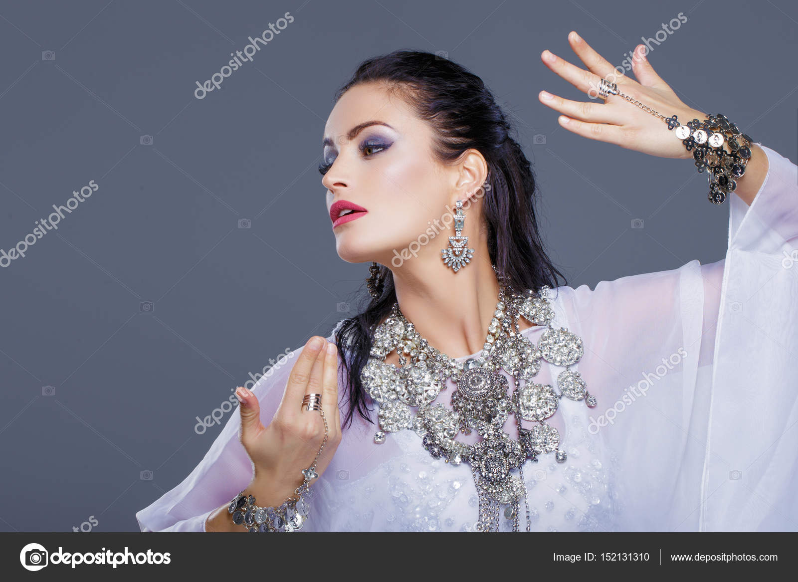 Sexy Arabic Belly Dancer Dancing Portrait Stock Photo
