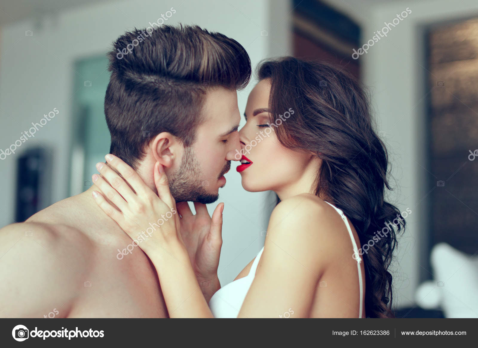 Sexy Naked Couple Kissing Indoor  Stock Photo -9817