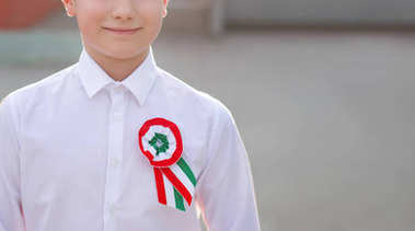 Little patriot boy with hungarian cockade closeup, march 15