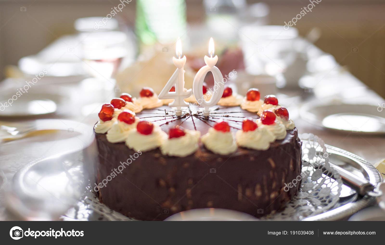 Happy 40th Birthday Cake On Table Stock Photo Sakkmesterke