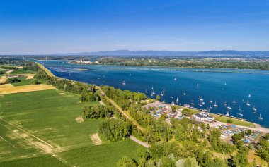 Sailing yachts on the Rhine in the south of Strasbourg - Grand Est, France