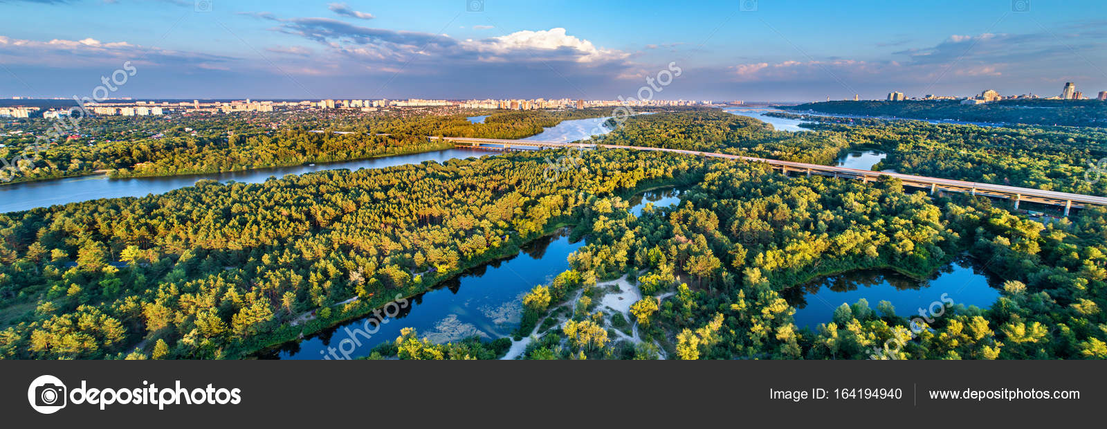 Aerial view of Trukhaniv Island on the Dnieper river in Kiev