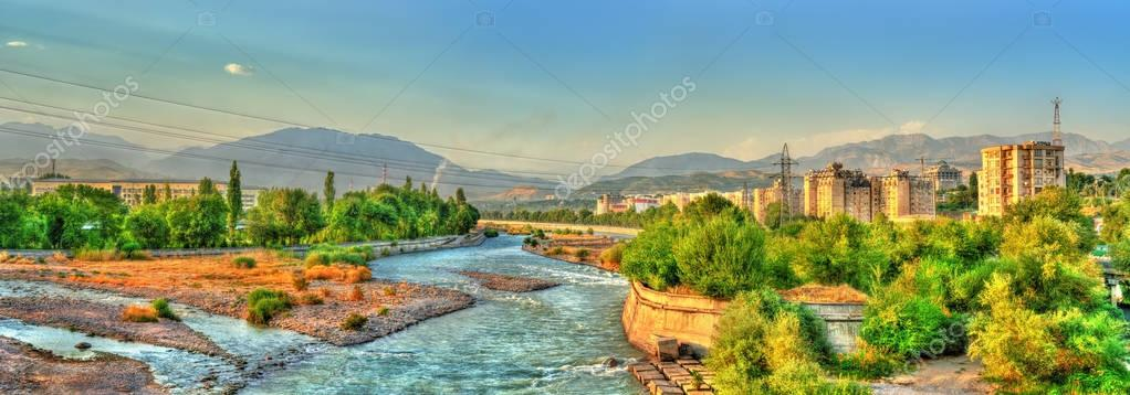 View of Dushanbe with the Varzob River and the Pamir-Alay mountains. Tajikistan, Central Asia