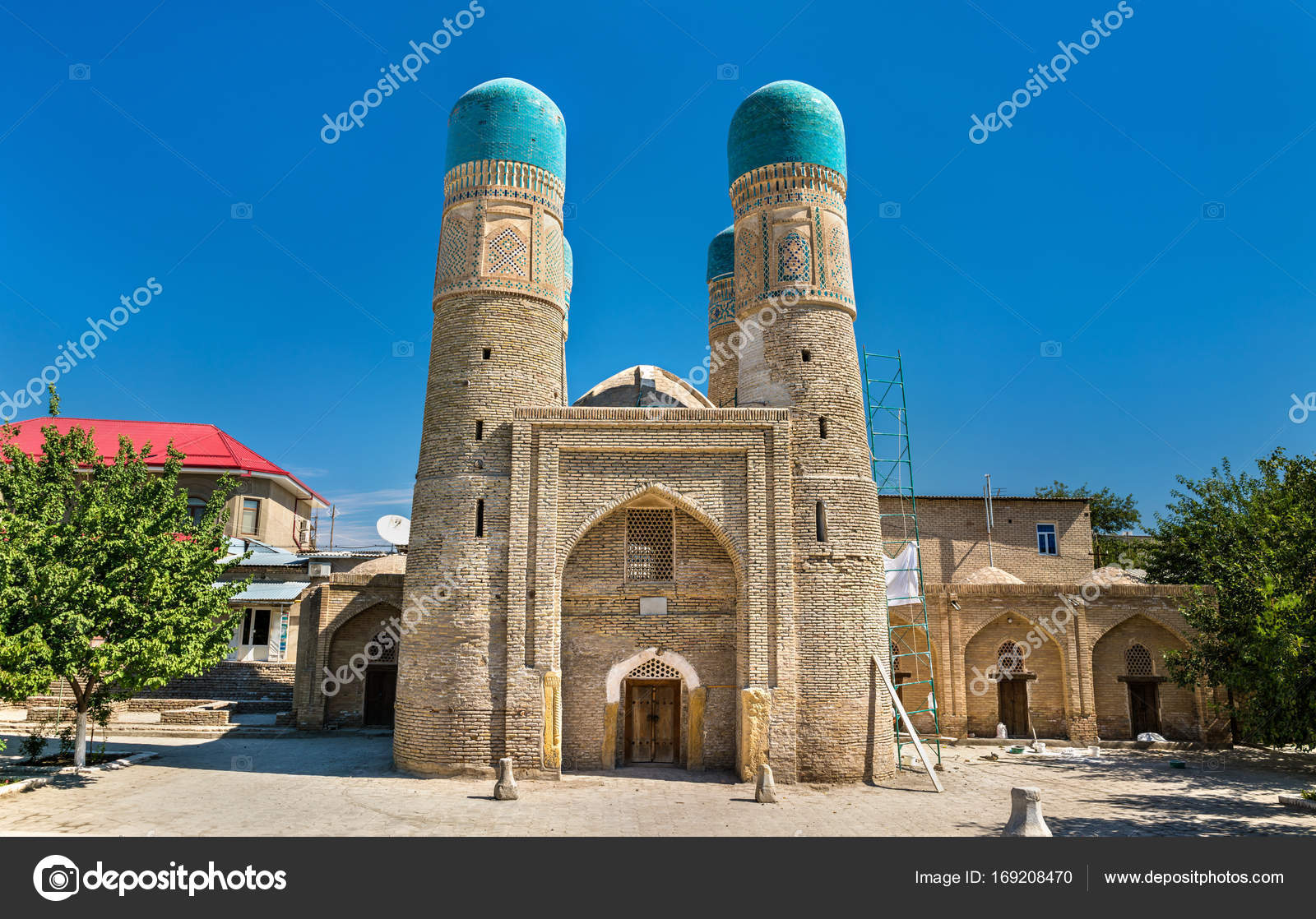 chor minor, four minarets madrasah in bukhara, uzbekistan. — stock