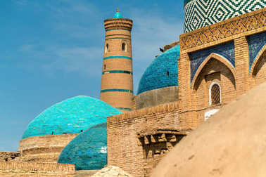 Historic buildings at Itchan Kala fortress in the historic center of Khiva. UNESCO world heritage site in Uzbekistan