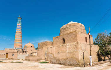 Bogbonly Mosque at Itchan Kala fortress in the historic center of Khiva. UNESCO world heritage site in Uzbekistan
