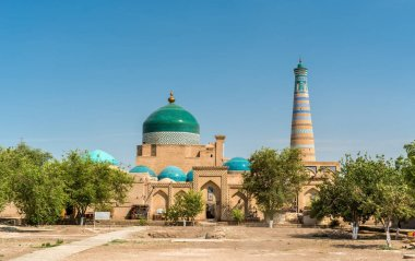 Historic mosque at Itchan Kala fortress in the historic center of Khiva. UNESCO world heritage site in Uzbekistan
